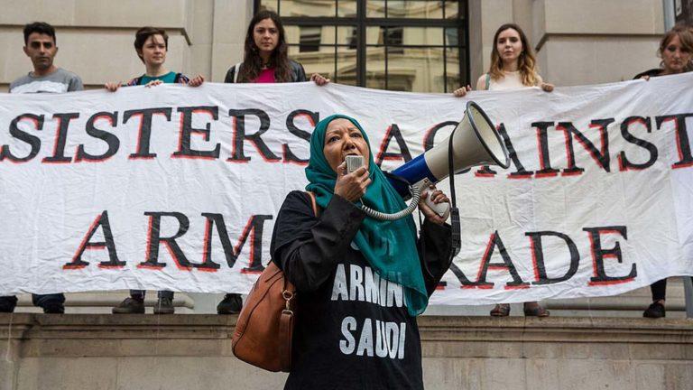 Protest mot vapenhandel med Saudiarabien.
