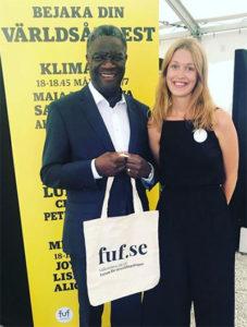 Denis Mukwege och FUF:s Sofia Brännström i Almedalen.