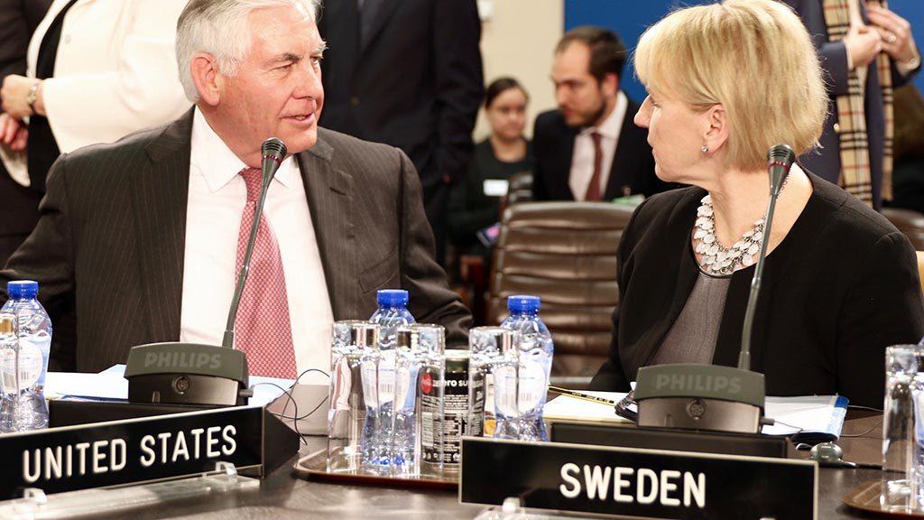 USA:s statssekreterare Rex Tillerson och Sveriges utrikesminister Margot Wallström 2017.