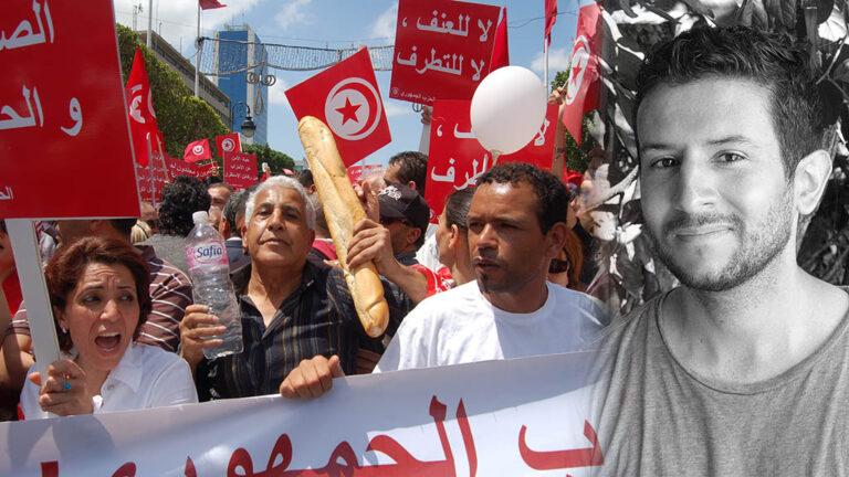 Demonstration för bättre levnadsvillkor i Tunisien
