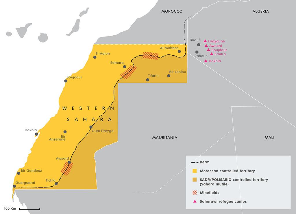 Karta över Västsahara