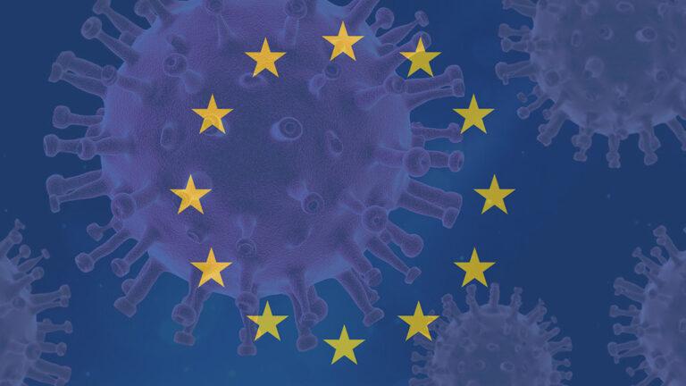 EU-flagga och coronavirus